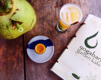 Fresh detox shots and young coconut water.